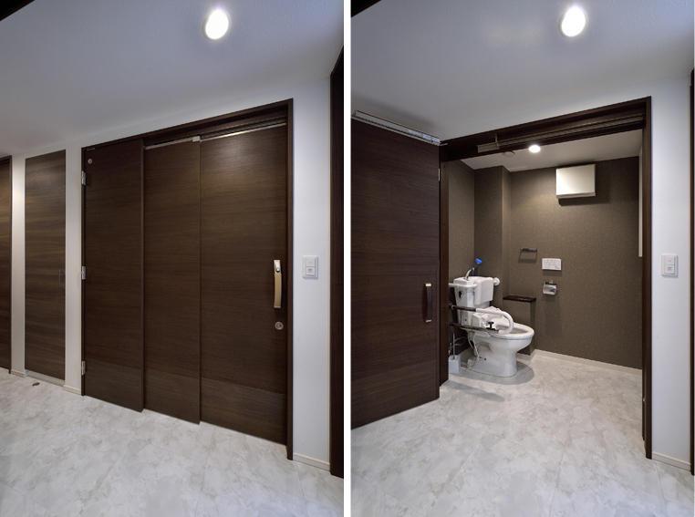 トイレドアは引いて開く「引きドア」を設置。車椅子でも出入りもスムーズになりました。