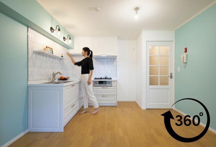 パリのアパルトマン風にリフォームしたマンションリフォーム事例です。360°事例。パノラマ事例。