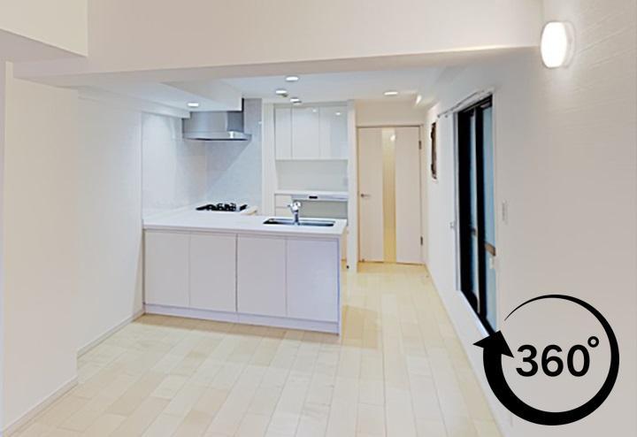 360°事例、パノラマ、ウォークスルー、L型キッチン、オープンキッチン、明るいフローリング、和室、押入をクローゼットに、玄関収納