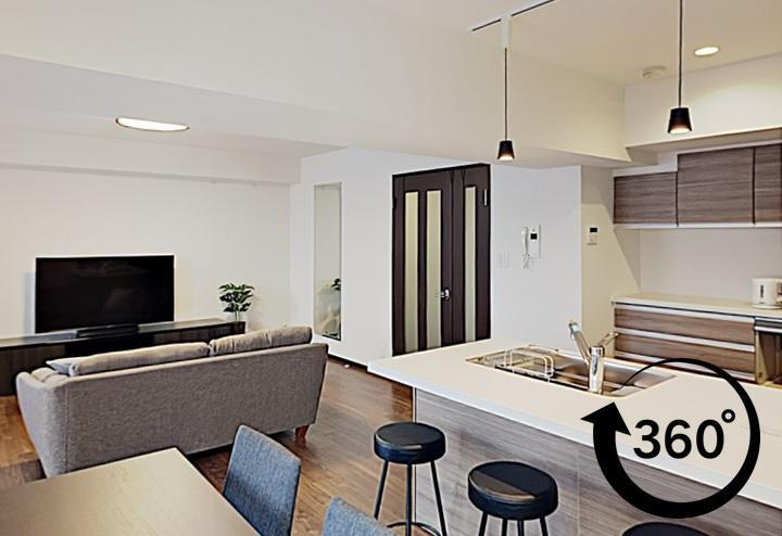 オープンキッチンのリフォーム。モダン和室へリフォーム。360°事例。パノラマ事例。